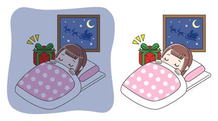 眠っている女の子とプレゼント セット