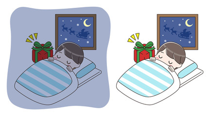 眠っている男の子とプレゼント セット