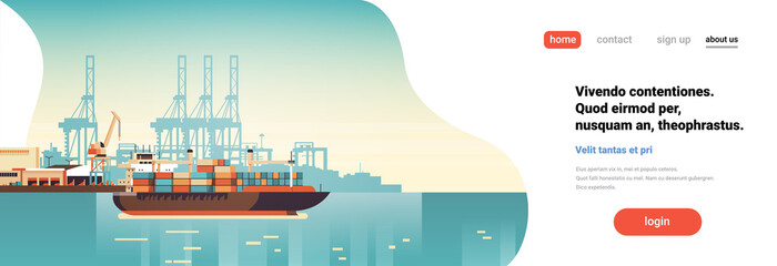 Industrial sea port cargo logistics container import export freight ship crane water delivery transportation concept shipping dock flat horizontal banner copy space vector illustration Fotomurales