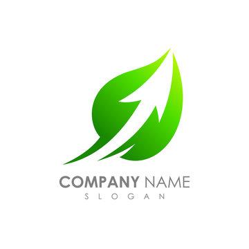 Leaf And Arrow Logo Template. Fast Arrow Launch Inside Leaf Shape