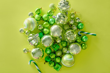 merry christmas and happy new year concept with Celebration balls green color other decoration