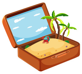 Sand in suitcase concept
