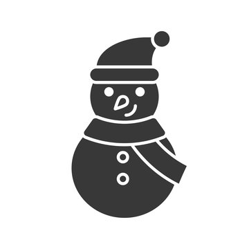 snowman icon in silhouette design for use as material in christmas theme
