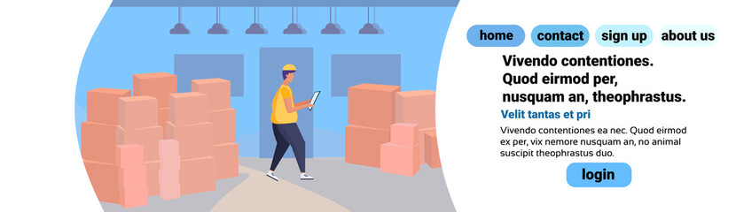 man loader checklist warehouse interior background box parcel delivery concept flat horizontal banner copy space