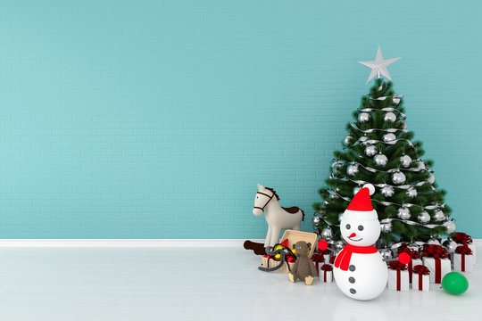 Christmas tree and snowman in light blue room for mockup, 3D rendering