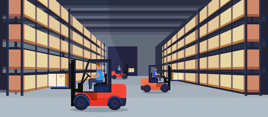 forklift loader working warehouse interior parcel box on rack logistic delivery cargo service concept rows shelves goods storage horizontal flat