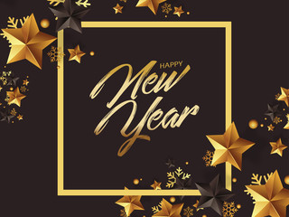 luxury happy new year greetings with gold stars