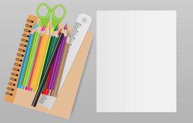 Blank note paper with school supplies on gray background. Vector illustration