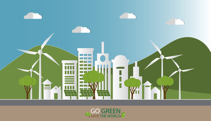 Paper art of landscape with Eco green city and nature, Environmentally friendly world.  Vector illustration