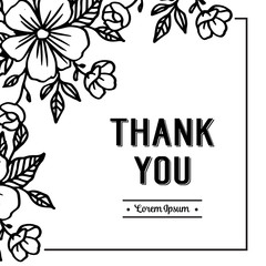 Vector Thank you greeting card with cute floral elements