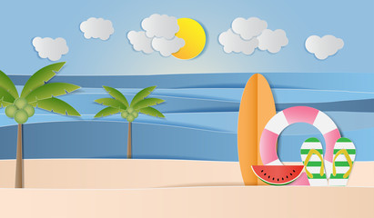 Landscape of sea, sand, sun, sandals, watermelon. Summer holiday background, Paper art style