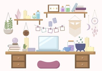 Modern witch workspace in pastel colors flat illustration