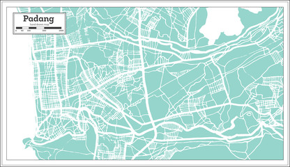 Padang Indonesia City Map in Retro Style. Outline Map.