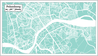 Palembang Indonesia City Map in Retro Style. Outline Map.