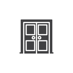 Architectural door vector icon. filled flat sign for mobile concept and web design. Double door simple solid icon. Symbol, logo illustration. Pixel perfect vector graphics
