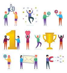 Various people posing with social media icons. Man and woman hold big thumb up icon, letter, golden cup. Successful social media. Flat design vector illustration