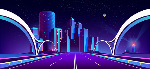 Canvas Prints Violet Vector concept background with night city illuminated with neon glowing lights. Futuristic cityscape in blue and violet colors, panorama with modern buildings and skyscrapers, bridge with highway