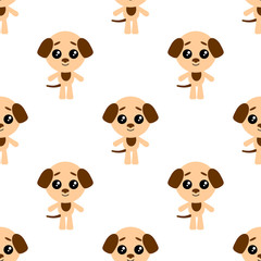 Vector seamless background. Kawai dog on the white background, cartoon puppy.