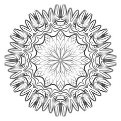 Design with floral mandala ornament. Vector illustration. for coloring book, greeting card, invitation, tattoo. Anti-stress therapy pattern.