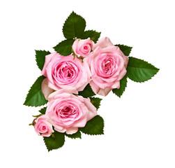 Pink rose flower and buds in a corner arrangement