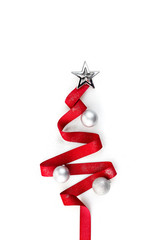 Christmas red ribbon tree decorate with silver glitter ornament balls and star on white background