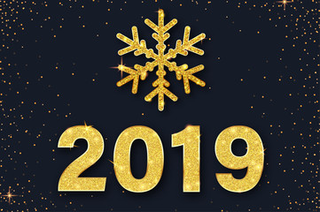 Happy New Year 2019 card with golden snowflake and confetti.