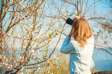 A girl takes pictures of a spring blossoming tree close-up. Natural texture of a flowering tree.