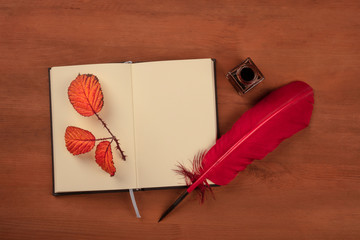 An open journal with a thorny branch with autumn leaves, an ink well, a red quill, shot from the top on a dark rustic wooden background with a place for text