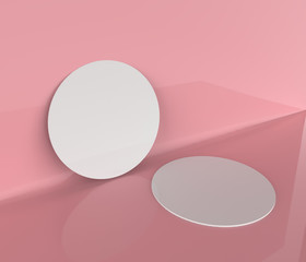 beer coasters isolated on the pink  background. 3d illustration