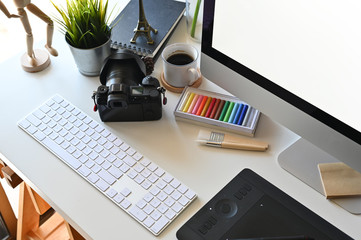 Creative photography workspace with office desk table.