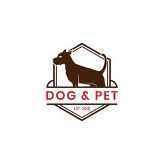 Vintage dog and pet logo template