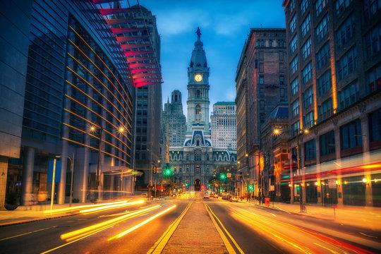 Philadelphia's historic City Hall at dusk