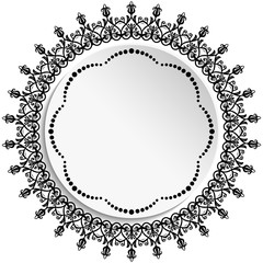 Round frame with floral elements and arabesques. Round black and white pattern with arabesques. Fine greeting card