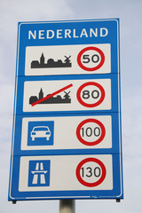Speed sign when entering the Netherlands with all kind of speeds for type of roads in kilometers