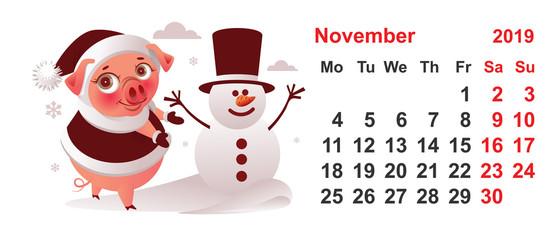 2019 year calendar november month pig makes snowman