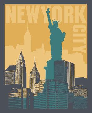 Manhattan, New York city, silhouette illustration