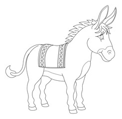 A donkey animal cute cartoon character black and white coloring illustration