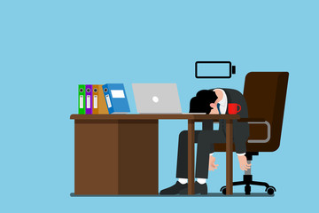 Vector illustration show businessman who run out of energy, exhausted and cannot continue his work.