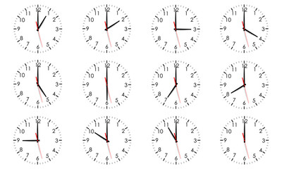 Set of clock dials showing various time isolated on white background. World clock, time zone. Vector illustration