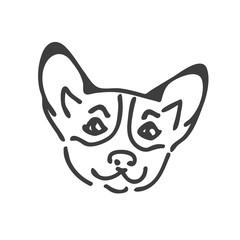 Corgi dog head tattoo design. Corgi head silhouette