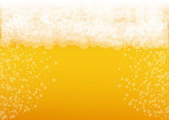 Beer background. Craft lager splash. Oktoberfest foam. Bavarian pint of ale with realistic white bubbles. Cool liquid drink for bar menu design. Golden bottle with beer background.