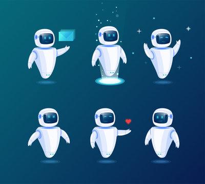Set of various futuristic robots activity vector illustration. Robot innovation technology science emotions