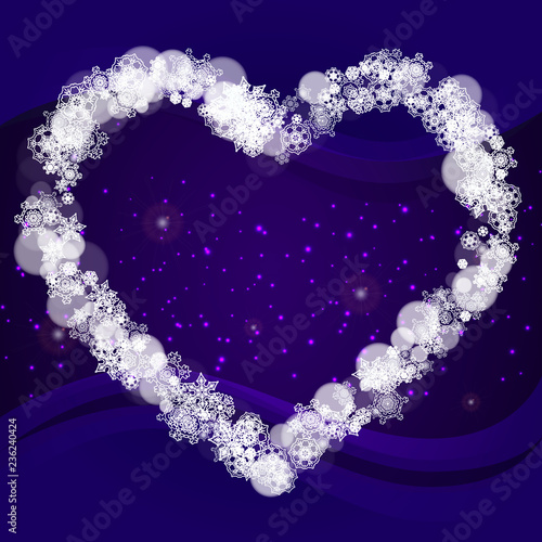 winter border with ultra violet snowflakes new year frosty backdrop snow frame for flyer