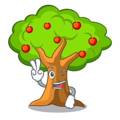 Two finger apple tree full of isolated mascot