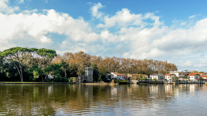 The historic center of Torre del Lago Puccini seen from Lake Massaciuccoli on a beautiful day with a dramatic sky, Tuscany, Italy