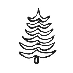 Hand drawn icon vector cartoon pine Christmas tree