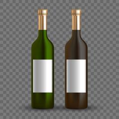 Vector dark bottle set template. Empty label for packaging design.