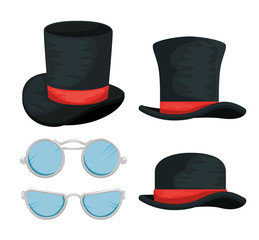 set male hats and glasses accesories style