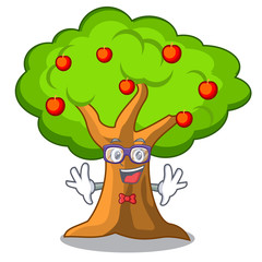 Geek apple tree full of isolated mascot
