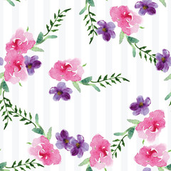 Hand-painted Watercolor pattern of a branch with flowers pink Magnolia flower spring card. Illustration of decorative floral design for wedding invitations and greeting cards.